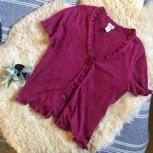 Raspberry ruffle sweater 🎀